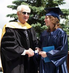 Robert M. Morgenthau with his daughter Amy following his graduation speech at the Storm King School in Cornwall.