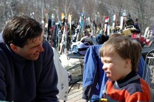 Sean and Sam between runs at Jiminy Peak last winter.