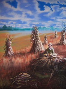 Corn Husker, Pastel by Shawn Dell Joyce