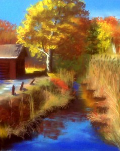 Silvermine Lake in Harriman, plein air painting of fall foliage from one of the prettiest sites in Bear Mountain!
