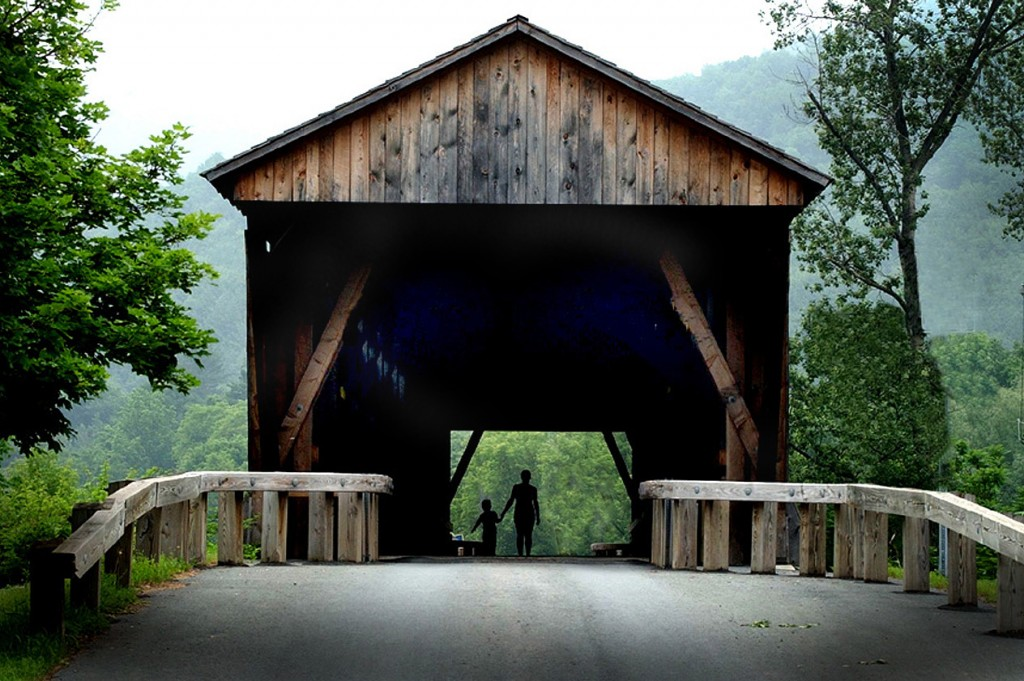DOWNSVILLE COVERED BRIDGE  - built in 1854 by Robert Murray. It is 174' long & it was added to the National Register on April 29, 1999. It is New York state's Longest Operating Covered Bridge. It is located in Downsville, NY, on Bridge Street.