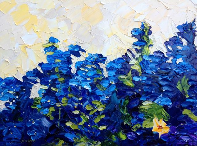 Delphiniums, oil on canvas, 18x24