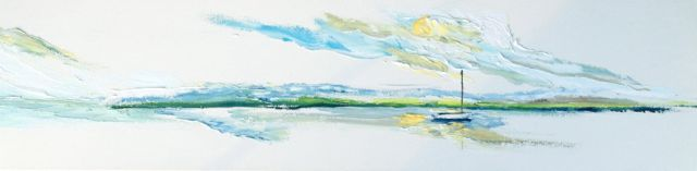 Safe at Anchor Oil on canvas, 12x48