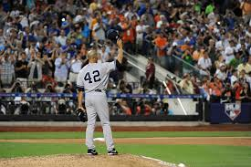 Mariano Rivera waves to crowd at All-Star Game.