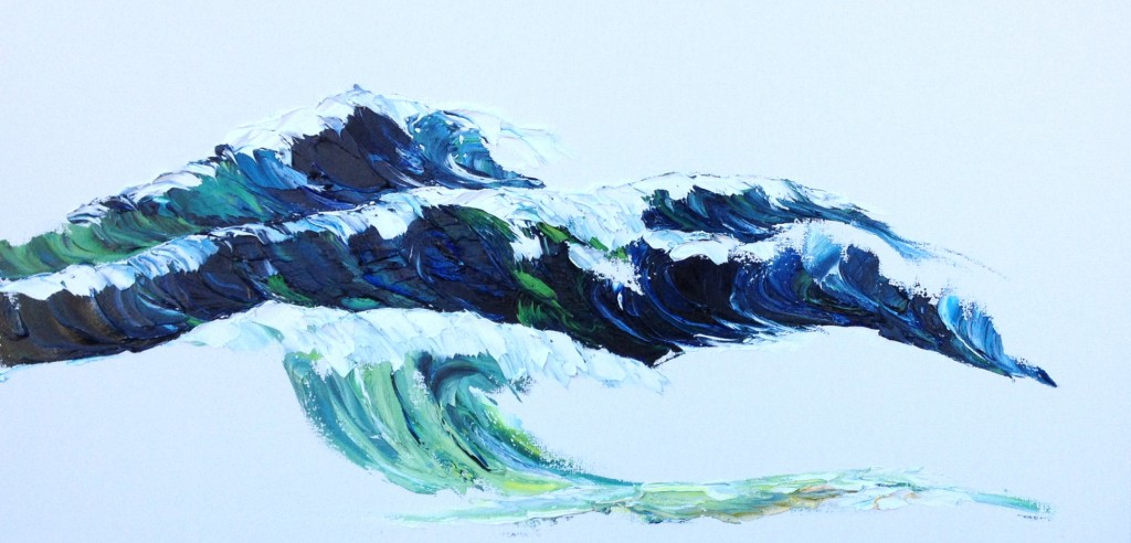 Bank of Waves, oil on canvas, 20x40