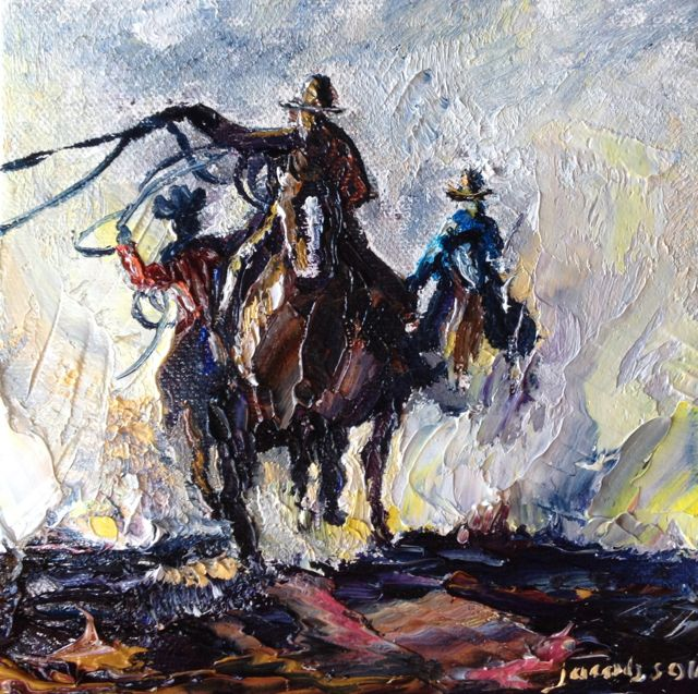 Cowboy Up! Oil on canvas, 6x6