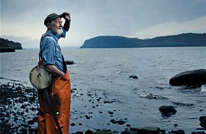 Pete Seeger on the banks of his beloved Hudson River.