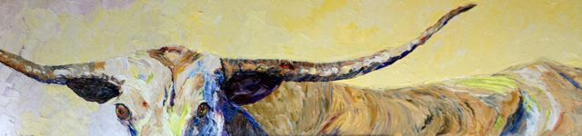 Long, Long Longhorn, oil on canvas, 15x60
