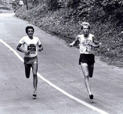Frank Shorter, left, and Bill Rodgers, racing to the finish line in the first Orange Classic.