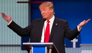 Donald Trump gestures during GOP debate. politifact photos