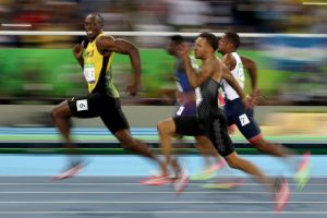 Usain Bolt, enjoying himself