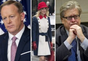 Sean Spicer, Kellyanne Conway and Steven Bannon. CREDIT: Matt McClain, The Washington Post; Ron Sachs, pool via Bloomberg; Jabin Botsford, The Washington Post