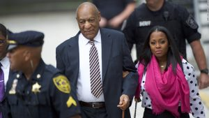 Bill Cosby walks into court, accompanied by TV daughter, Kiesha Knight Pulliam