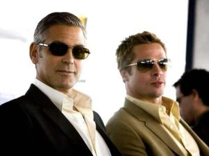 "George Clooney and Brad Pitt, streaming in one of the ""Ocean's"" movies."