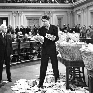 "Jimmy Stewart in ""Mr. Smith goes to Washington,"" Hollywood's version of the filibuster."
