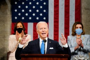 President Biden delivering his first speech to Congress.